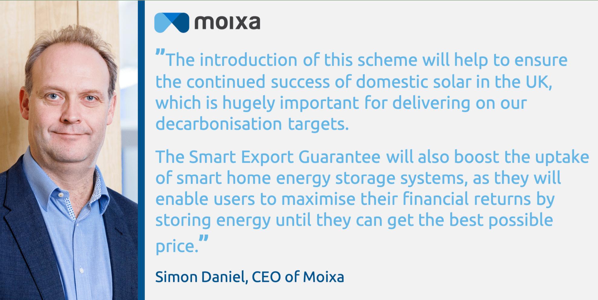Smart Export Guarantee Quote Moixa | Home Energy Storage | Smart Energy Management