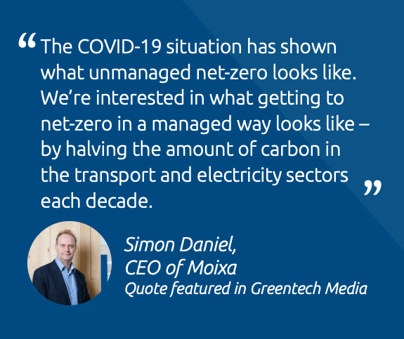 """The COVID-19 situation has shown what unmanaged net-zero looks like. We're interested in what getting to net-zero in a managed way looks like - by halving the amount of carbon in the transport and electricity sectors each decade."""